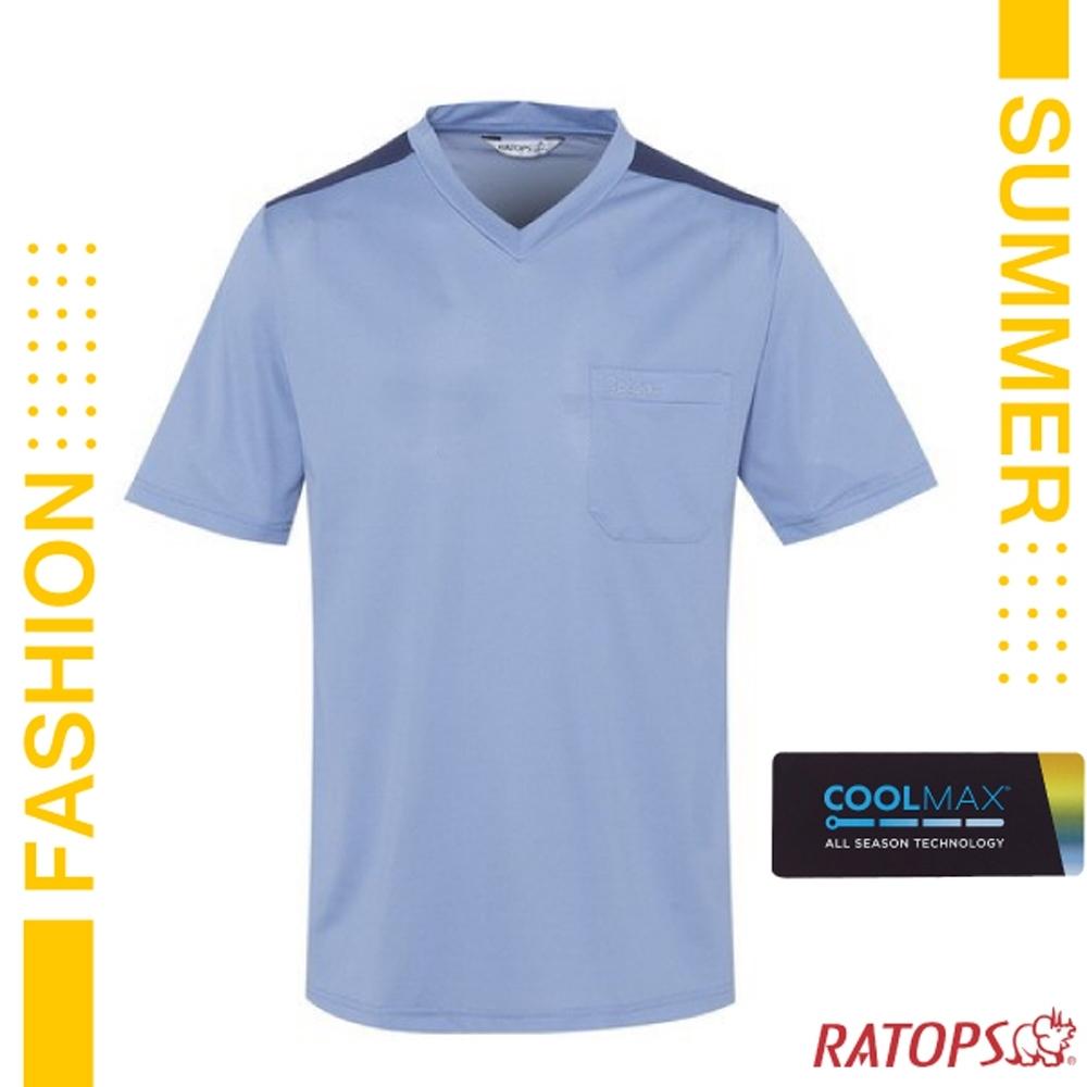 瑞多仕 男款 COOLMAX 輕量透氣短袖 V領上衣.T恤_DB1711 褪色藍/深藍莓色