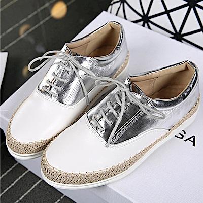 韓國KW美鞋館 雙色拼接綁帶懶人鞋-銀色