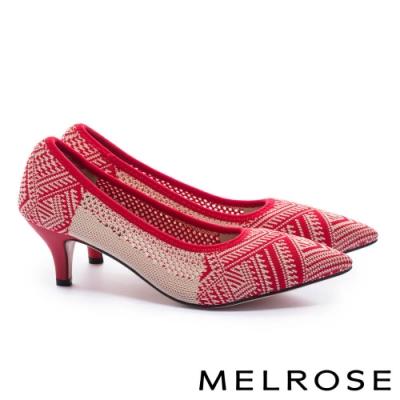 高跟鞋 MELROSE 百搭時尚圖騰印花飛織尖頭高跟鞋-紅