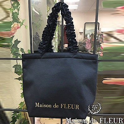 Maison de FLEUR 復古緞面荷葉邊手提包