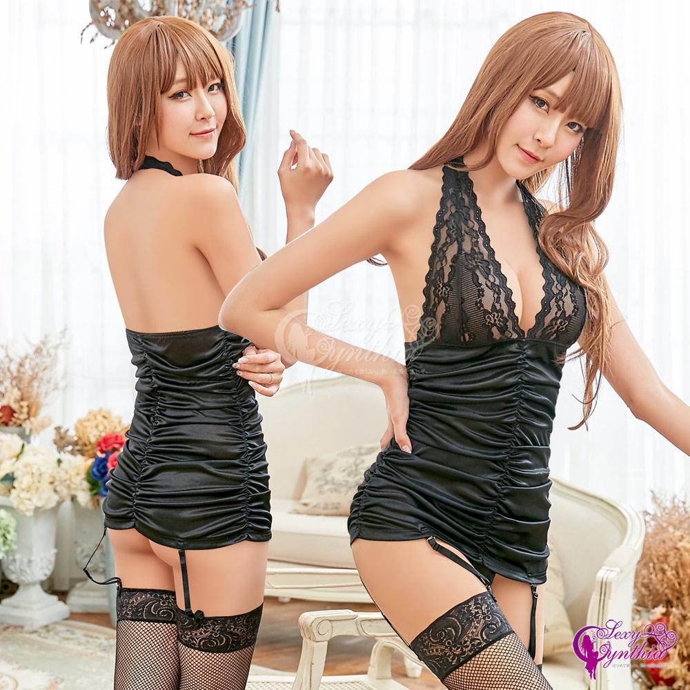 Sexy Cynthia黑色誘惑蕾絲柔緞四件式長馬甲組-黑F