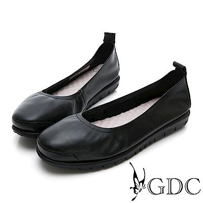 GDC-牛皮基本素面抓皺圓頭上班包鞋-黑色