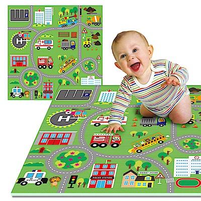 LOG樂格 環保幼兒遊戲爬行墊2cm - 動物社區雙面街道 120X180cm