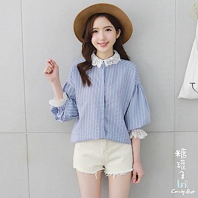 糖罐子-拼接布蕾絲直紋棉麻襯衫(藍)