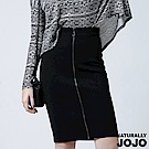 【NATURALLY JOJO】高腰拉鍊設計過膝裙(黑)