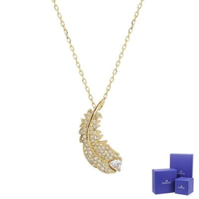 SWAROVSKI 施華洛世奇 NICE璀璨水晶羽毛造型金色項鍊