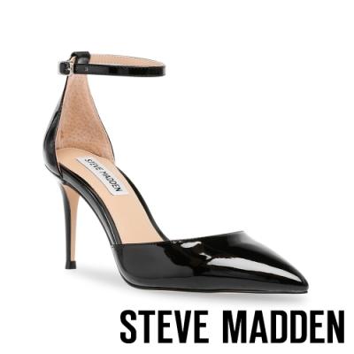 STEVE MADDEN-LINSEY 性感優雅一字系帶尖頭高跟女鞋-鏡黑