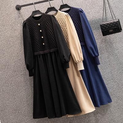 玩美衣櫃清新針織假二件針織洋裝-F(共三色)-KVOLL