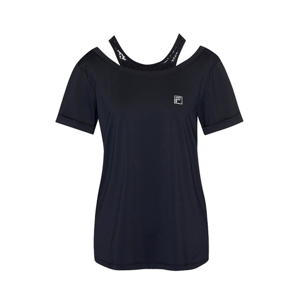 FILA 女吸濕排汗短袖T恤-黑色 5TEV-1604-BK