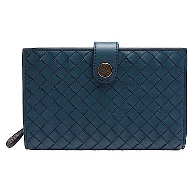 BOTTEGA VENETA 經典編織雙色小羊皮菱格紋暗釦中夾(藍色)