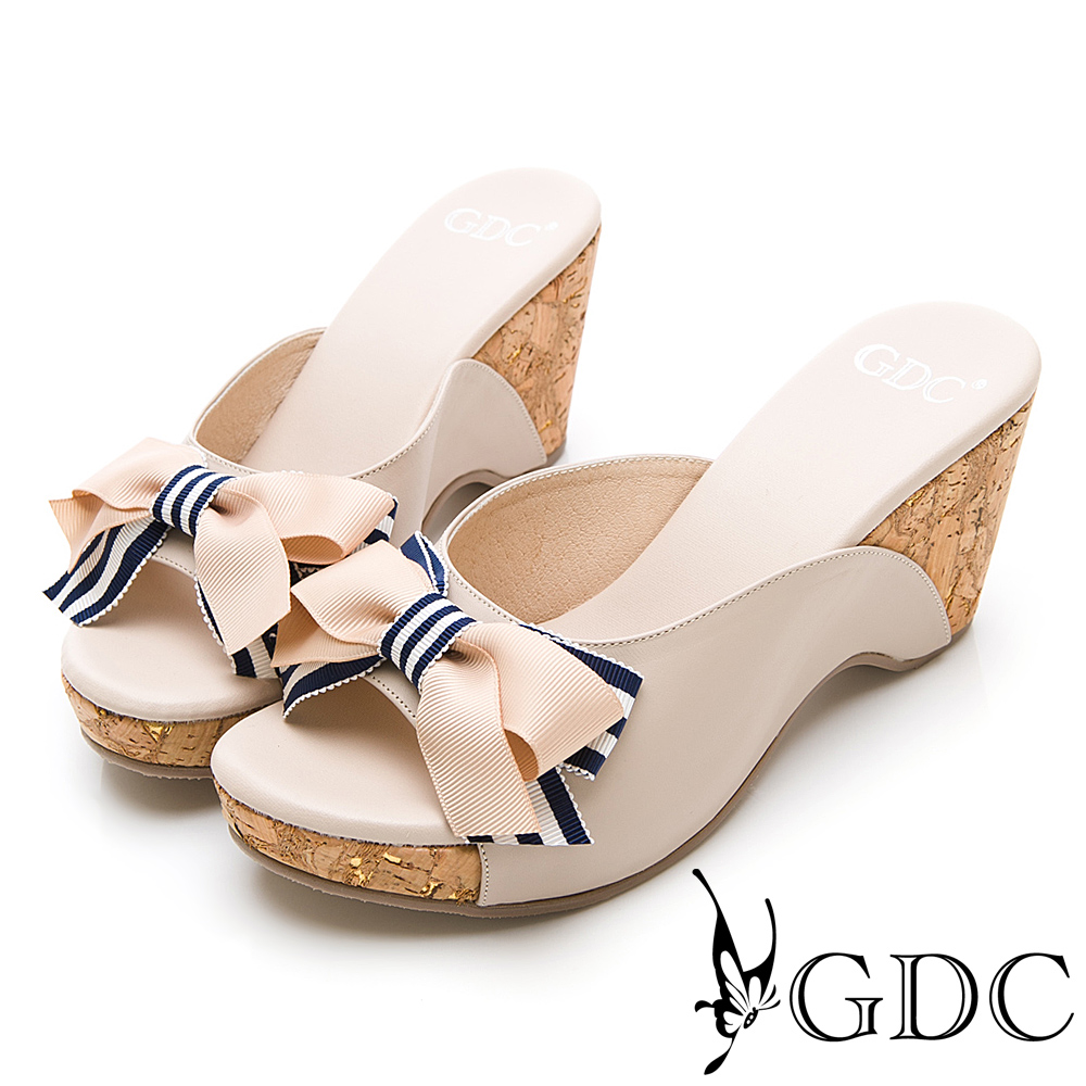 GDC-春夏繽紛撞色蝴蝶結木紋楔型拖鞋-粉色
