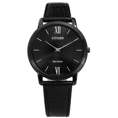 CITIZEN 藍寶石水晶玻璃輕薄光動能真皮手錶(AR1135-10E)-黑色/39mm