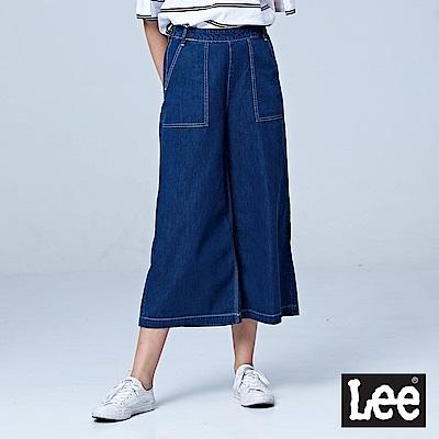 Lee 9分高腰牛仔寬褲-中藍色