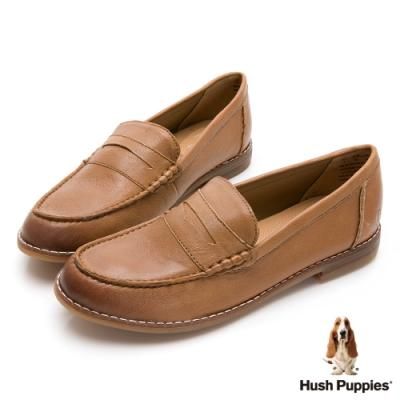 Hush Puppies 經典學院風百搭樂福鞋-棕色