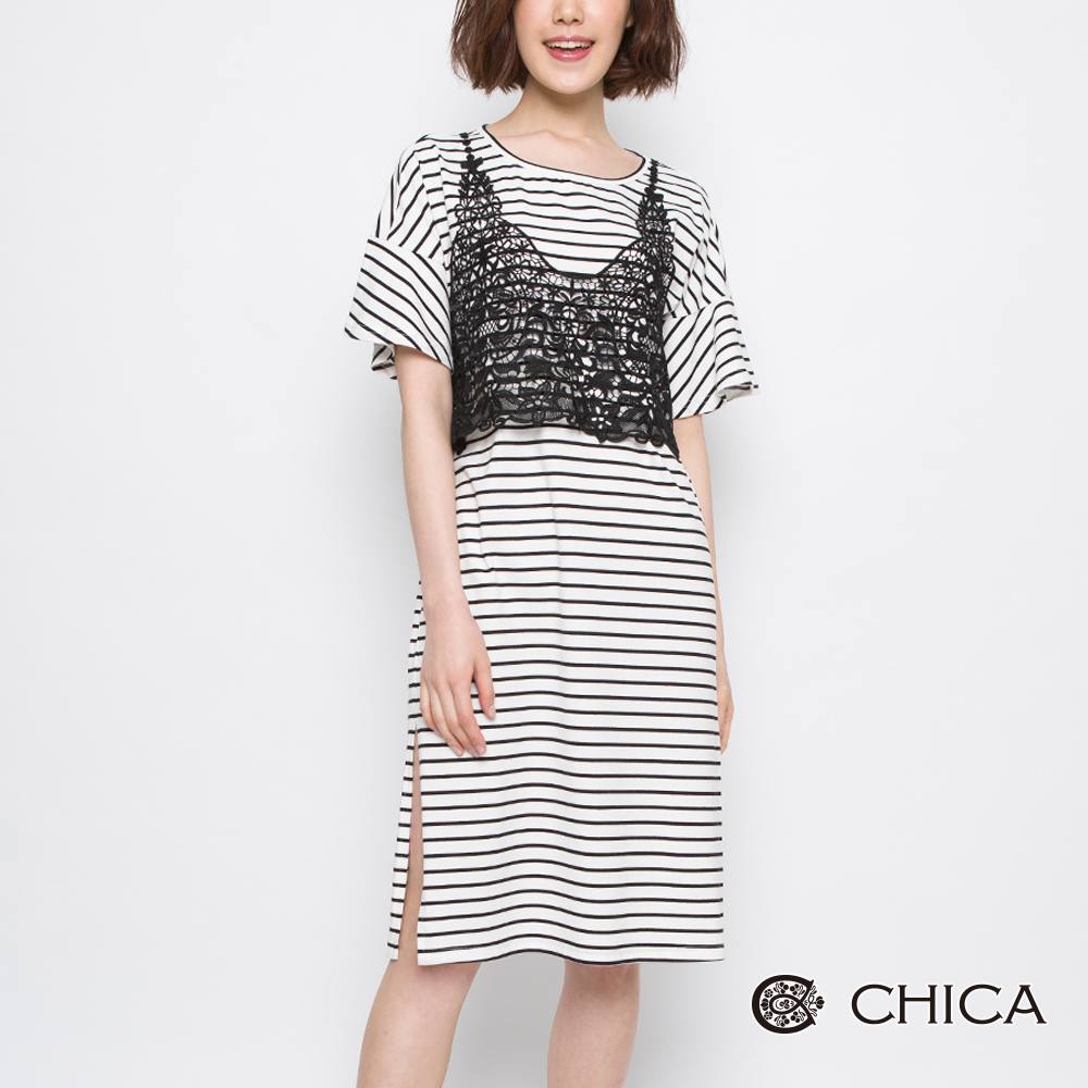 CHICA 悠遊花藝兩件式蕾絲背心條紋洋裝(2色)