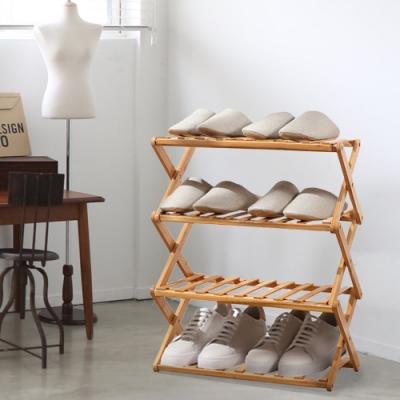 家可 50CM加長款四層可折疊竹製鞋架(原木)置物架 收納架 竹鞋架 鞋櫃