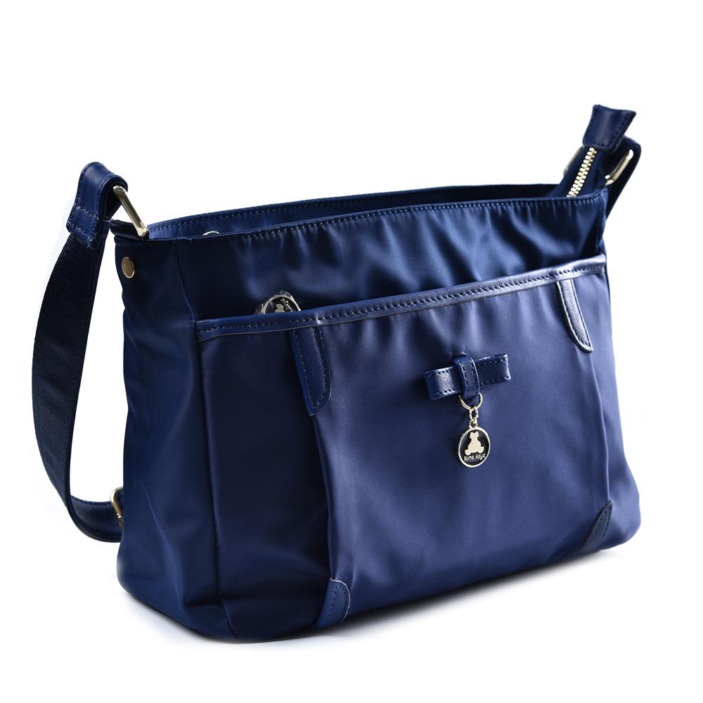 kuma heya -日本帆布和風柔素多夾層斜背包-午夜藍