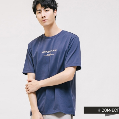 H:CONNECT 韓國品牌 男裝 -基本百搭文字T-shirt -藍