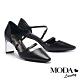 高跟鞋 MODA Luxury 迷人曲線釦造型羊皮小方頭高跟鞋-黑 product thumbnail 1