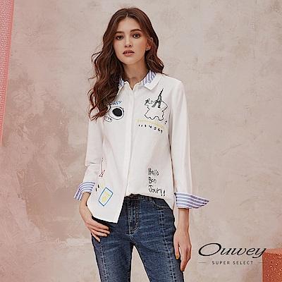 OUWEY歐薇 時尚法國刺繡造型拼接襯衫上衣(白)