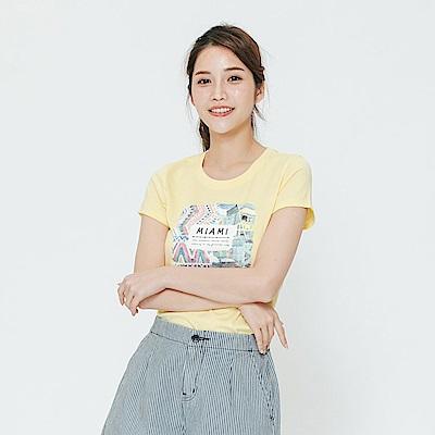 Hang Ten - 女裝 - 有機棉 炫彩印圖上衣-黃色