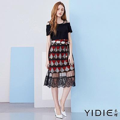 【YIDIE衣蝶】蕾絲拼接幾何圖形露肩洋裝