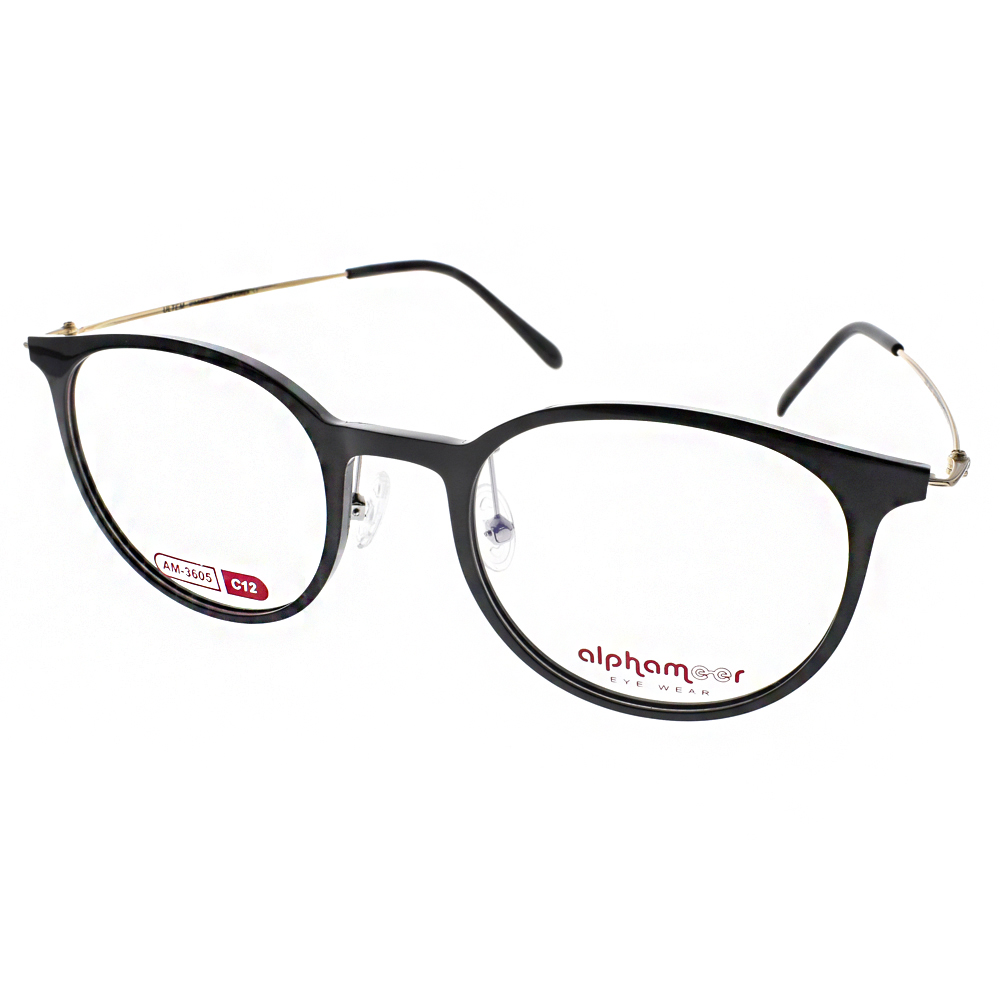 Alphameer光學眼鏡 韓國塑鋼系列/黑-金#AM3605 C12
