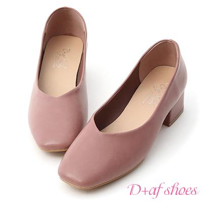 D+AF 優雅春氛.素面V口方頭低跟鞋*玫瑰