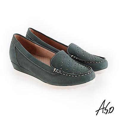 A.S.O 新式復古 真皮面料休閒鞋 灰綠