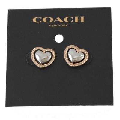 COACH 水鑽裝飾愛心造型耳環(玫瑰金/銀)