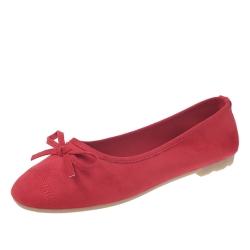KEITH-WILL時尚鞋館 甜美玩色彈力豆豆鞋-紅色