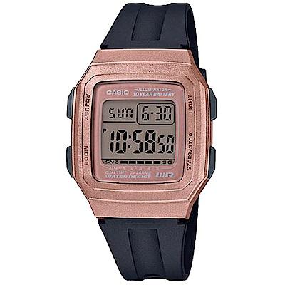 CASIO 復古方形十年電力設計電子腕錶-玫瑰金(F-201WAM-5A)/41mm