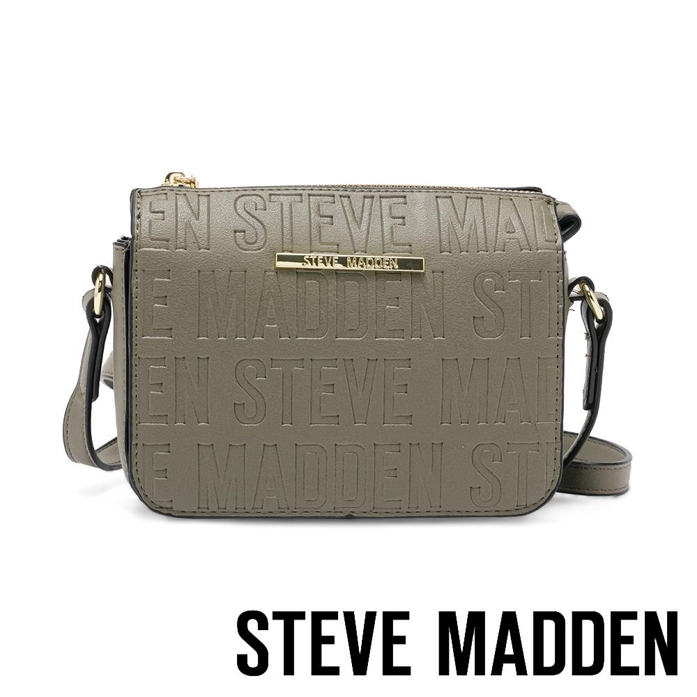 STEVE MADDEN-BCUBA 品牌壓紋拉鍊側背斜背包-墨綠