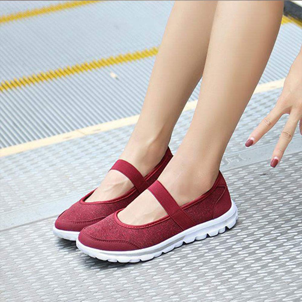 韓國KW美鞋館 飛織布面娃娃款減震軟底鞋-紅色