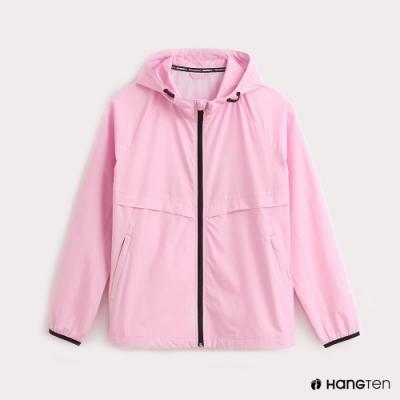Hang Ten-女裝-ThermoContro-薄夾克收納風衣外套-粉