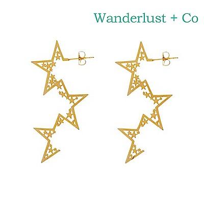 Wanderlust+Co 澳洲時尚品牌 閃耀不規則三星耳環