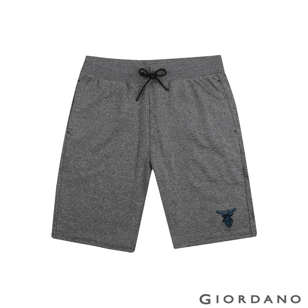 GIORDANO 男裝麋鹿刺繡針織短褲-41 雪花鯊魚皮灰