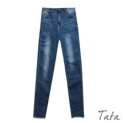 洗舊微刷破褲管不收邊牛仔褲 TATA-(M~XL)