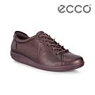 ECCO SOFT 2.0 經典輕盈皮革休閒鞋 女-霧酒紅