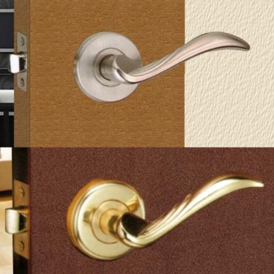 花旗 羽毛型 下座水平把手 W301金色 W302銀色 硫化鋁銅 門鎖 板手鎖