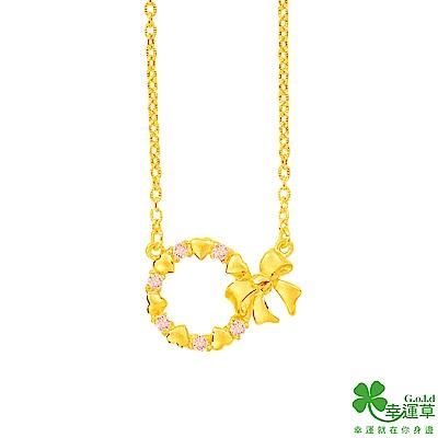 幸運草 甜蜜花圈黃金項鍊