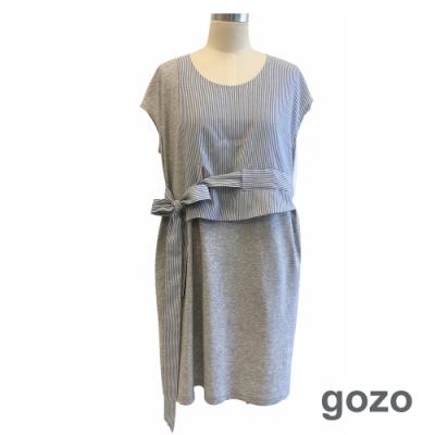 gozo 造型側綁帶線條拼接洋裝(灰色)