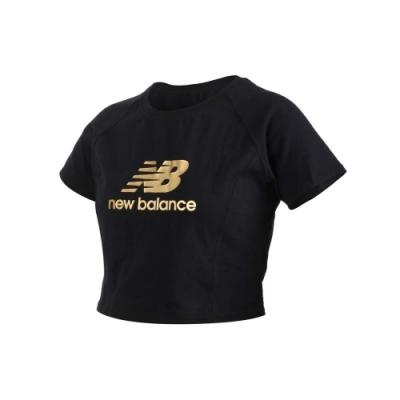 NEWBALANCE 女短版短袖T恤-短袖上衣 休閒 NB WT03503BK 黑金
