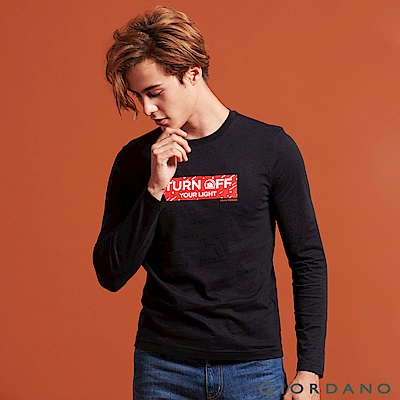 GIORDANO 男裝圓領英文標語長袖印花T恤-07 標誌黑