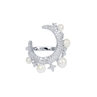 apm MONACO法國精品珠寶 閃耀銀色一千零一夜月亮珍珠戒指