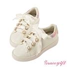 Disney collection by gracegift小美人魚珍珠緞帶休閒鞋 彩