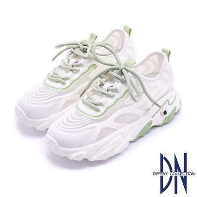 DN老爹鞋_真皮拼接星光網布造型厚底休閒鞋-白綠