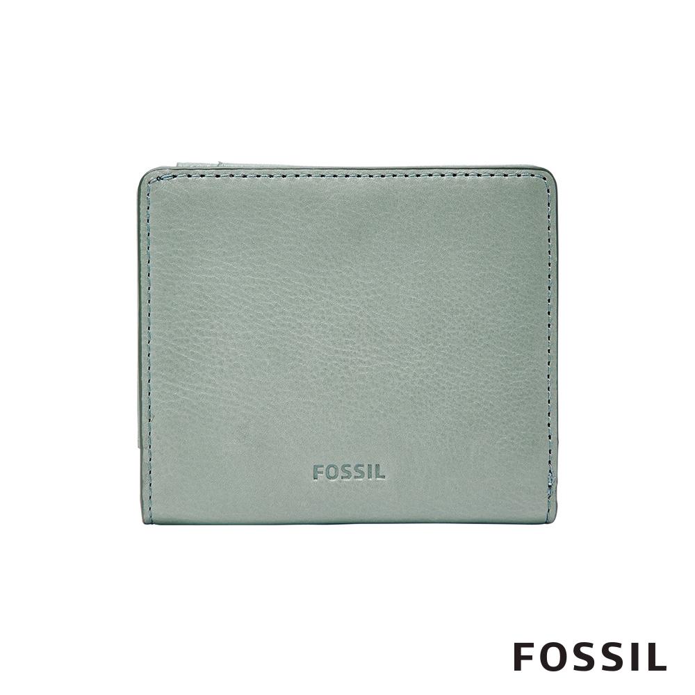 FOSSIL EMMA RFID真皮迷你短夾-灰藍色