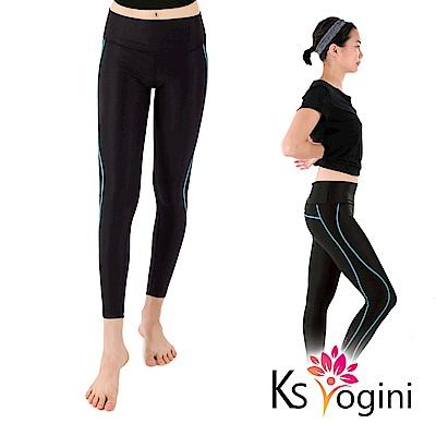 KS yogini 收腹高腰透氣彈力運動褲 瑜珈褲 藍線 FREE SIZE