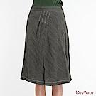 KeyWear奇威名品    歐風立體格紋微皺長裙-藍綠色